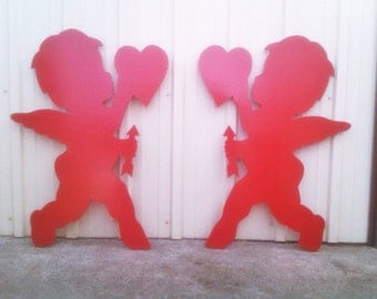 Happy Valentine's Day Pair of Cupids with Hearts and Arrows Yard Art Lawn Decoration