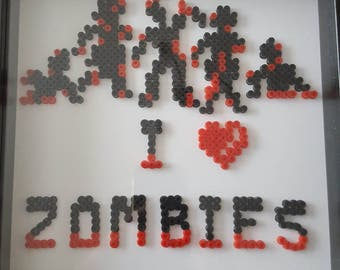 I Love Zombies Hama Bead Picture.