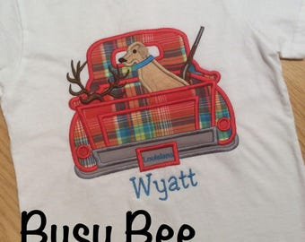 Appliqued Deer Hunting Dog Rifle Truck Shirt