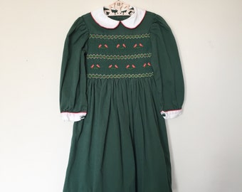 Gorgeous Vintage 1950's Handsmocked Green Handmade Cotton Dress with the Sweetest Pink Birdies and Peter Pan Collar Size 5/6 - OSVKC0016