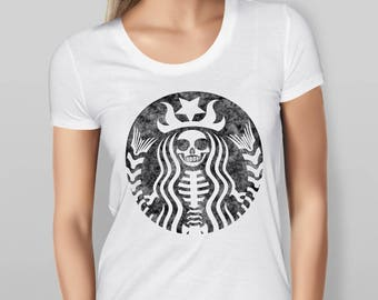 Womens Distressed Starbucks Skeleton T Shirt - Black - Blue - White - Red - Sizes - S - M - L - XL - XXL
