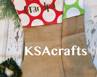 Burlap Stockings, Christmas Stockings, Polka Dot, Seersucker