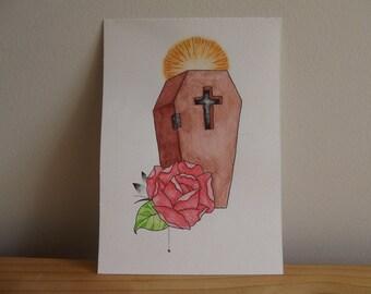 Coffin & Rose Watercolour Illustration