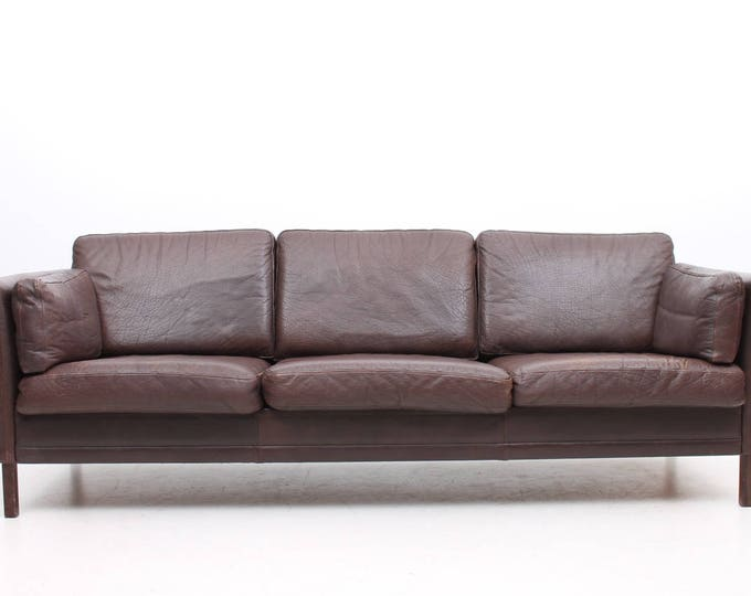 Danish Modern Leather 3-seater Børge Mogensen Style Sofa