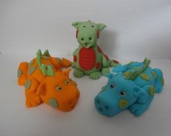 Cute Dragons, cake topper, sugar paste, fondant, edible, birthday, boy, girl,