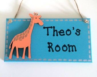 Giraffe Personalised Door Sign ~ Kids Door Sign ~ Children's Bedroom Plaque ~ Kids Personalised Plaque ~ Kids Name Plaque ~ Kids Room Sign