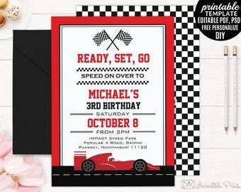 Race Car Boy Birthday Invitation Template. Boy Birthday Party Invitation. Go Kart Racing DIY PDF Editable Download Speed Birthday Invitation