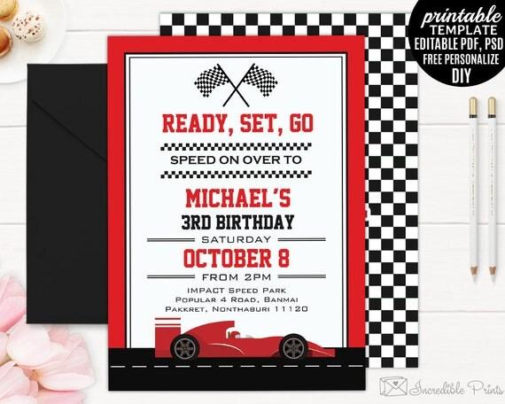 Race Car Boy Birthday Invitation Template Boy Birthday Party – Toddler Birthday Invitation Templates