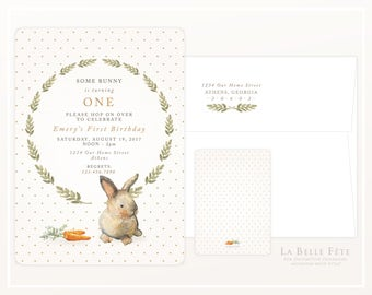 SOME BUNNY is turning ONE  First Birthday Party Invitation with watercolor rabbit, carrots, wreath and polka dots, in Pink and Tan
