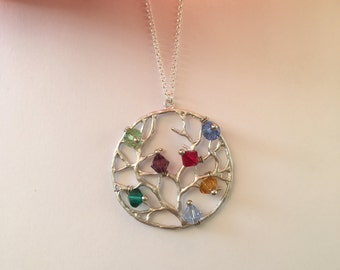 Family Tree Birthstone Necklace.Mother Gift, Grandmother Gift.
