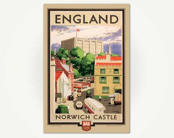 Norwich Castle Travel Poster Print - Vintage Norwich England Travel Poster Art