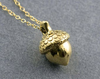 Cute Gold Acorn Charm Necklace
