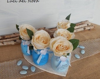 HALF PRICE SALE-5 piece Set Jars small paintings-centerpiece-baptism-Wedding