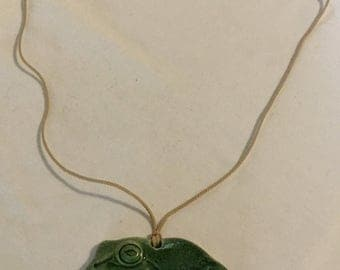 "Vintage 27"" Ceramic Frog Pendant on Cord Necklace"