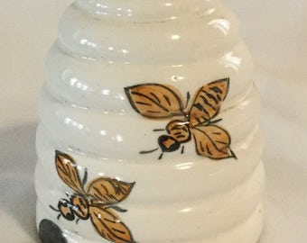 Unusual Vintage Ceramic Hand Painted Beehive Container Jar