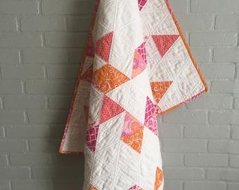Baby Girl Quilt, Baby Quilt, Modern Baby Quilt, Pink and Orange Baby Quilt, Crib Quilt