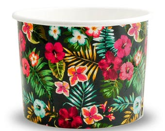 12 oz Hawaii 5.0 Paper Ice Cream Cups - Premium High Quality Paper Cups - Beautiful Design - Very Fast Shipping! Frozen Dessert Supplies