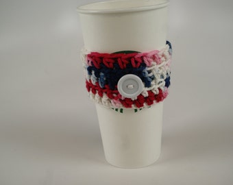 Simple Coffee Cozy - Red/White/Blue with White Button