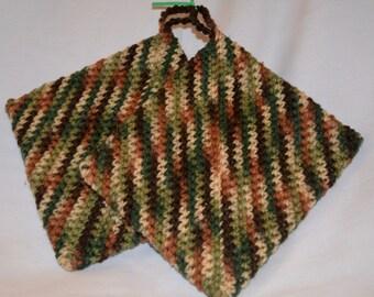Crocheted PotHolders Brown, Dark Brown, Tan, Green and Light Green