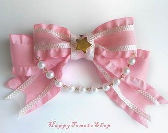 Pink Lolita Ribbon Two Way Brooch Clip Bow