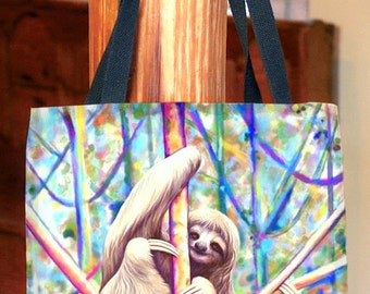 Colorful Sloth Canvas Tote Bag, Gym Bag, Diaper Bag, Craft Bag or School Bag
