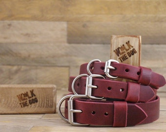 Leather dog collar, FREE ID TAG, Plain collar, Customised leather collar, Burgundy leather collar, Dog collar, Rustic leather collar.