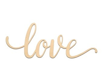Love Script Word Wood Sign, Wooden words, Sign Art, Rustic Cursive Word, Room Decoration, Wall hanging, Laser Cut Unfinished Wood #3001
