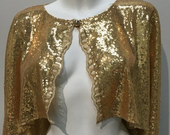 Gold sequin hi low cropped cape