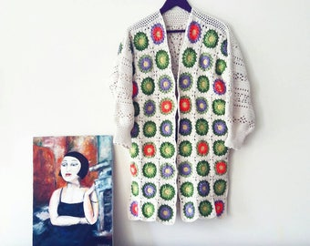 100% Cotton Handmade Crochet Cardigan Patchwork