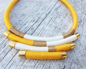 Rope Necklace / Boho Necklace / Jellow and Gold Necklace / Chic Necklace / Statement Necklace / Multi Layered Bib Necklace / Fiber Necklace