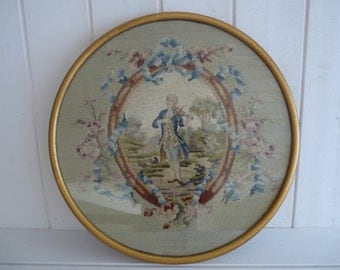 Antique French romantic tapestry, 18th century costume, needlepoint, framed under glass, 18th pastoral bucolic scenery