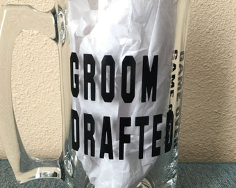 Groom Drafted game over glass includes the year