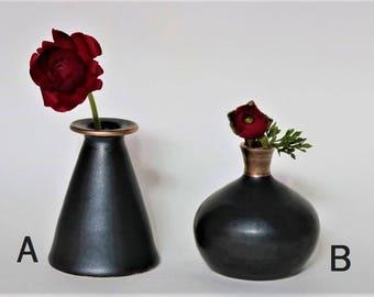Handmade vase, Pottery Vase, Bud Vase, Black and gold bud vase, Ceramic Bud Vase