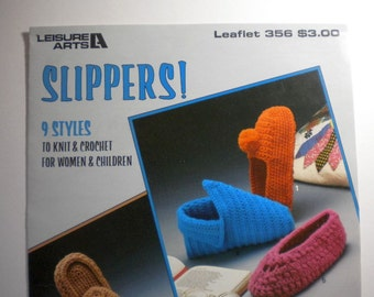 Slippers!  9 styles to knit and crochet leaflet - pay it forward, PIF
