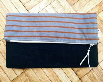 Handmade Indie Striped Clutch Bag
