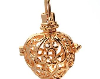 1 Hollow Gold Tone Rack Plating Brass Prayer Box/Caller Ball Pendant Hearts -Fits 18mm Ball (B142d)