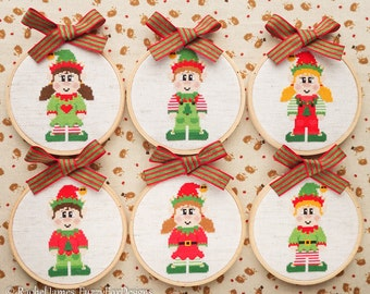 Cute Christmas Elves Cross Stitch Pattern PDF | Set of 6 | Easy | Modern | Beginners Counted Cross Stitch | Instant Download