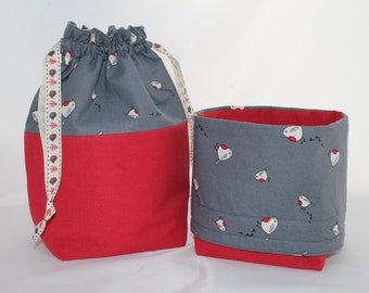 Small  BASKET Bag in Red and grey with Robin print. Great project bag, ideal for 2 at a time socks or a lovely toy or gift bag.