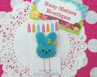 Planner clip - blue glitter bunny
