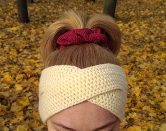 Cream headband Hand knit headband hippie headband bohemian headband handmade hair wrap wool ear warmer adult headband women running headband