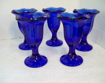 Set of Five Cobalt Blue Anchor Hocking Parfait Glasses Free Shipping