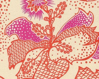 Anna Maria Horner True Colors Filigree in Coral Fabric - Summer Floral Fabric by the Yard - Sale Fabric - Boutique Clothing - Modern Quilts