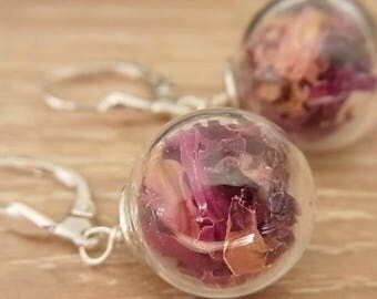 Earrings, 925 Silver with rose petals