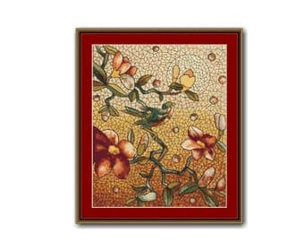 Bird and Blossoms Cross Stitch Pattern, Henry Belcher Stained Glass Mosaic , Instant Download Cross Stitch Chart (P-042)