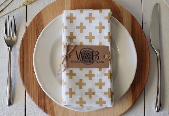 Fabric Napkin   table linen, cloth napkin set, table decor, gold cross
