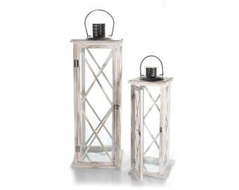 Set 2 white vintage wooden lanterns with black metal roof. Lanterns.