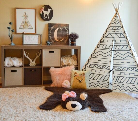 Nursery Rug Large: Bear Rug /EXTRA LARGE Faux Bear Rug / Woodland Nursery / Baby