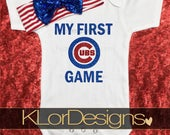 My First Baseball Game bodysuit, Cubs baby shirt, Chicago baby, baseball outfit, baby girl, Chicago Cubs, newest fan