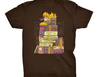 Sleeping On My Treasure   Cats T-shirt   Sleeping Tee   Cool Tee   Treasure T-Shirt   Cute Tee   Books Shirt   Cutie Tee
