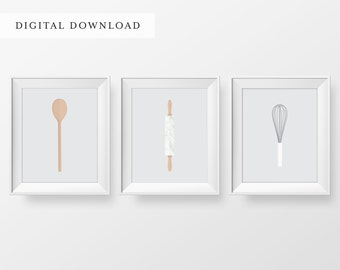Baking Art Print 3 Set | Glasses Art Print | Gallery Wall Art Print | DIGITAL DOWNLOAD